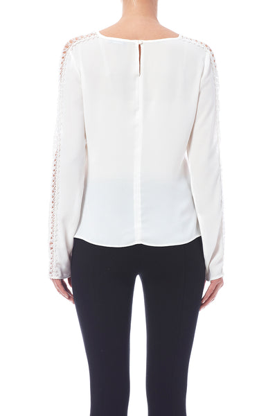 LACE TRIM BLOUSE - Marvy Fashion Boutique