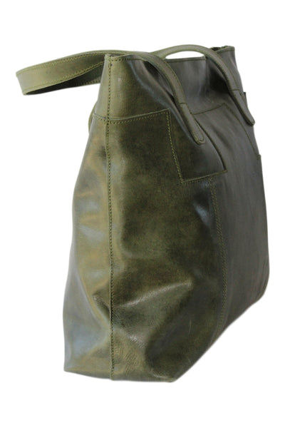 Olive Leather Tote - Marvy Fashion Boutique