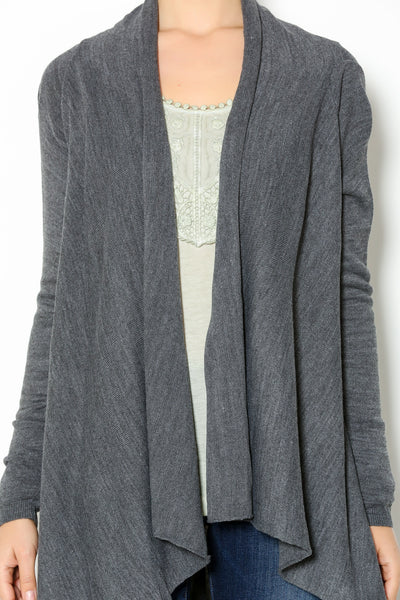 DRAPED FRONT CARDIGAN - Marvy Fashion Boutique