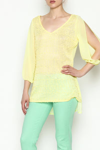 YELLOW SHEER TOP - Marvy Fashion Boutique