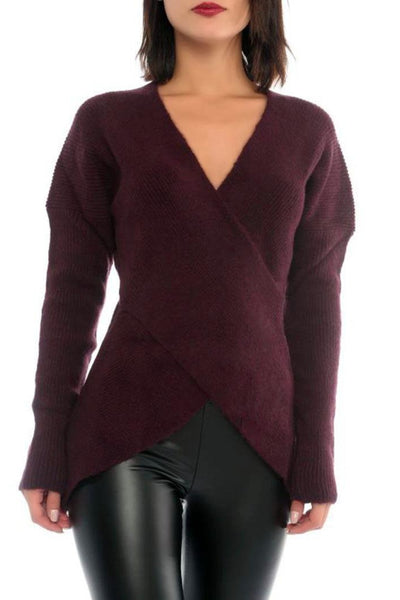 CROSS FRONT SWEATER - Marvy Fashion Boutique