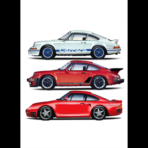 Porsche TRIO Porsche Die Cut Stickers