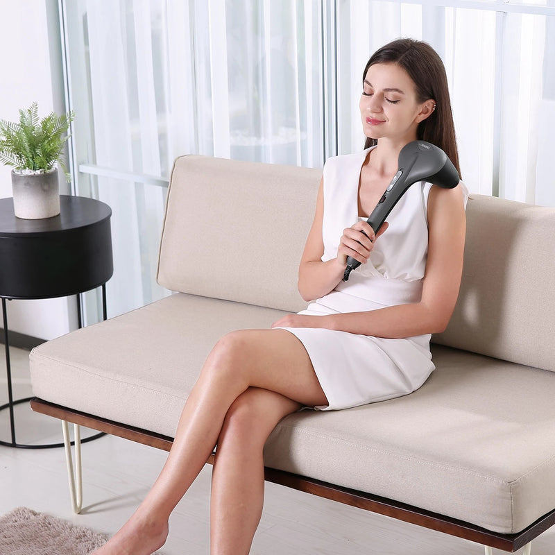 Naipo Handheld Dual-node Percussion Massager with Replaceable Attachments - NAIPO