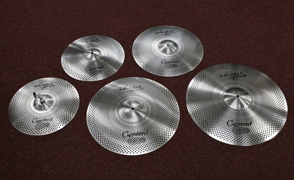 Centent Whisper Cymbalsatz Low Volume in Silver Design Kompletter Satz mit 14