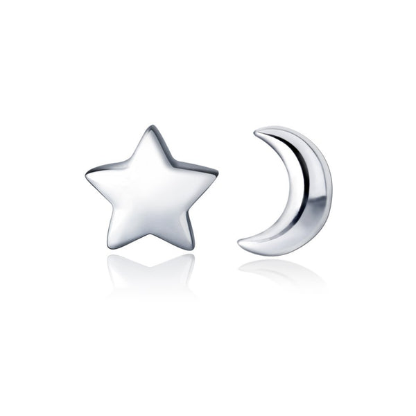 HANFLY Tiny Moon and Star 925 Sterling Silver Stud Earring Star Earring