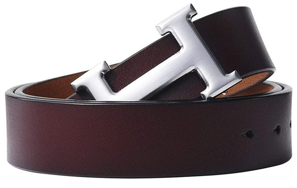 Fashion Designer Silver H Buckle Unisex Belt for Men or Women {3.8cm Belt Width}