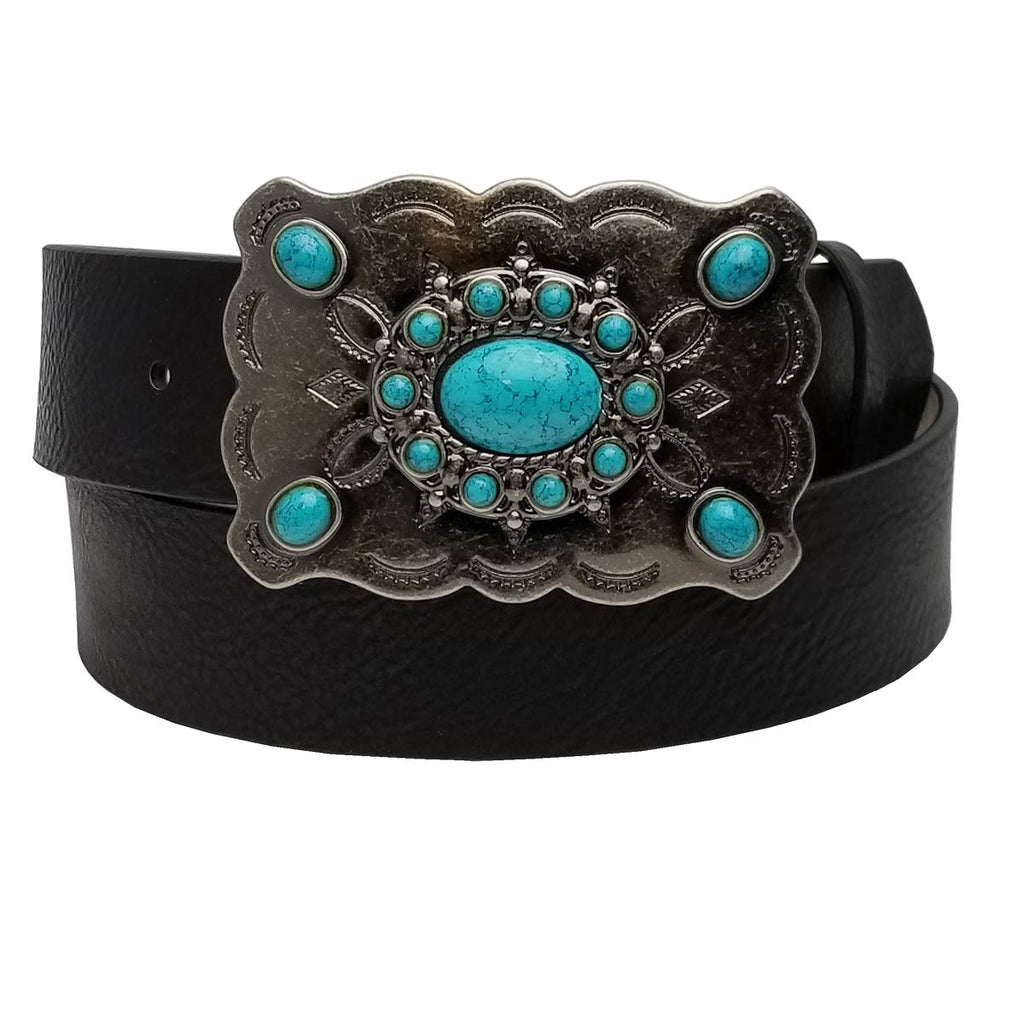 Western Turquoise Buckle with Vegan black strap