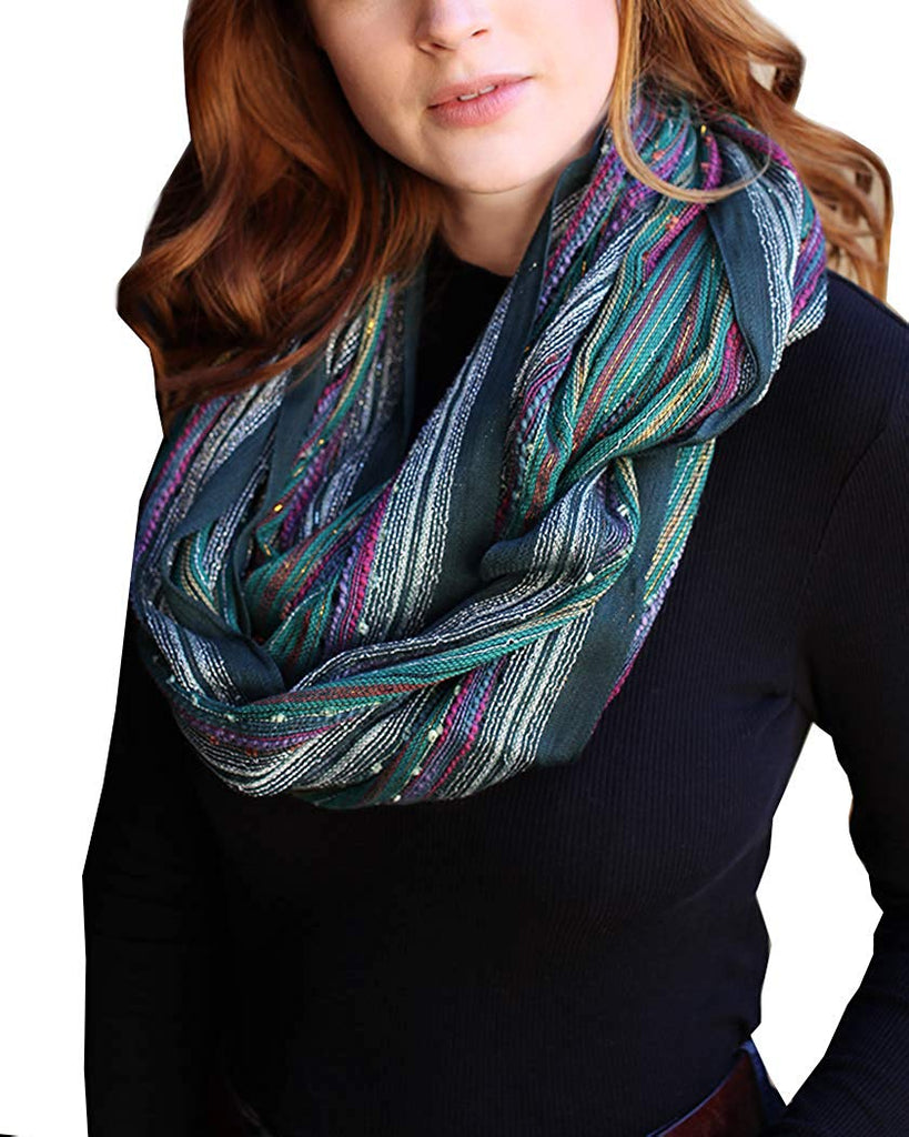 (18 COLORS) Shimmer Sparkle Infinity Scarf, Women's Festival Boho Bliss Lightweight Fashion Loop Shawl