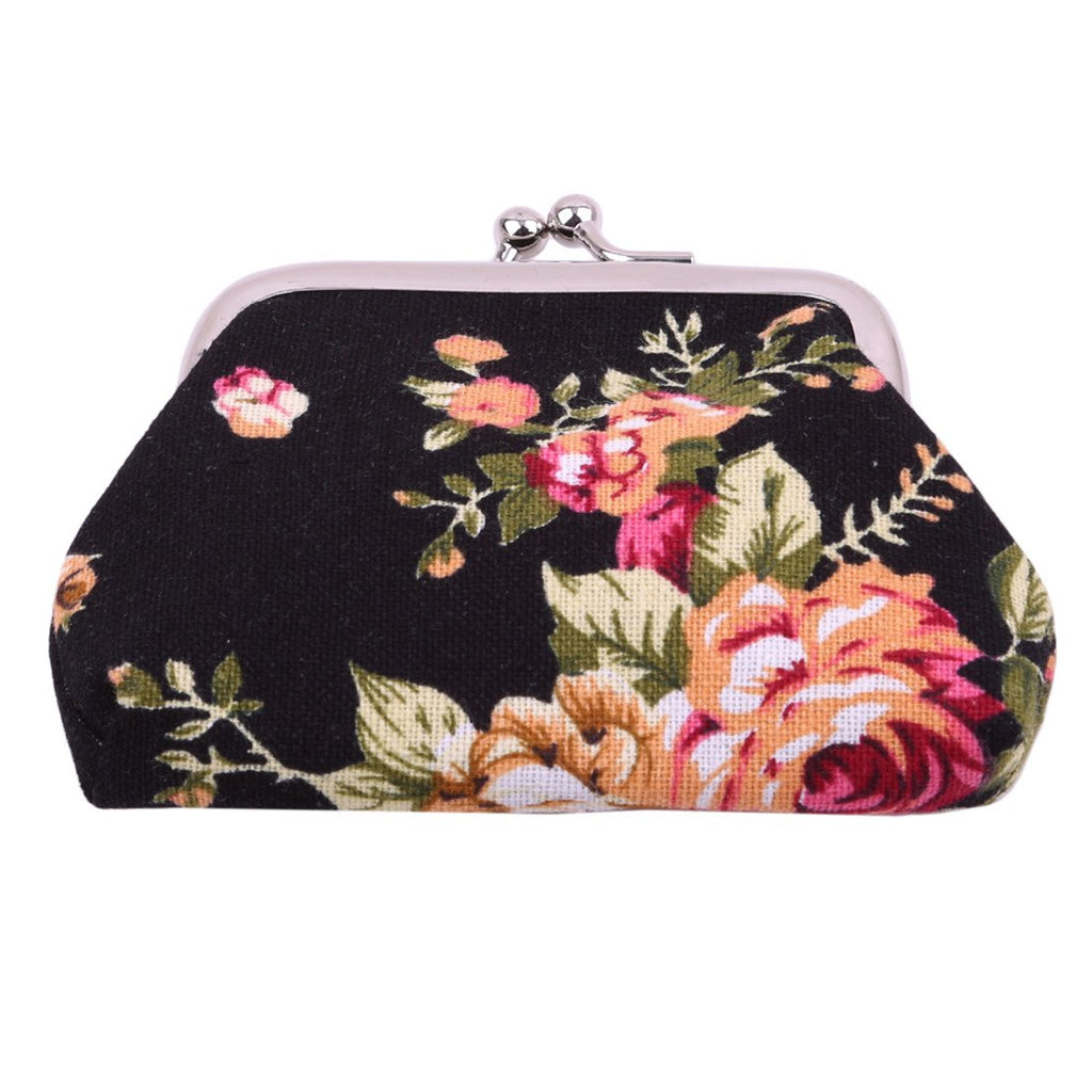 VWH Women Retro Small Wallet Flower Clutch Bag Good Flowers Gift Bags (black)