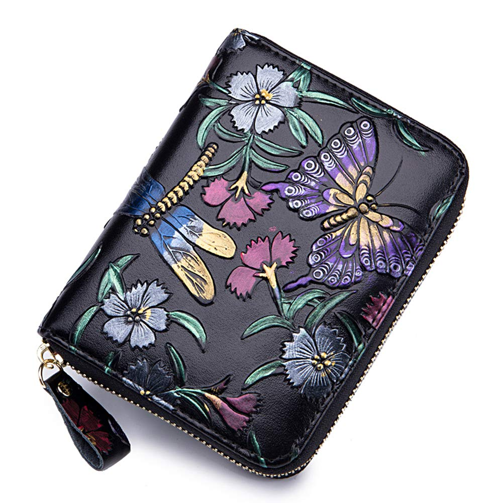 Women RFID Blocking Leather Credit Card Holder case Accordion Wallet 24 Slots Purses with Zipper Pocket Hand-painted color