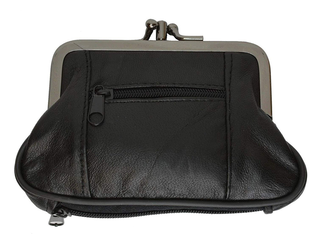 LeatherBoss Large Coin Purse Double Frame With Zipper Pocket
