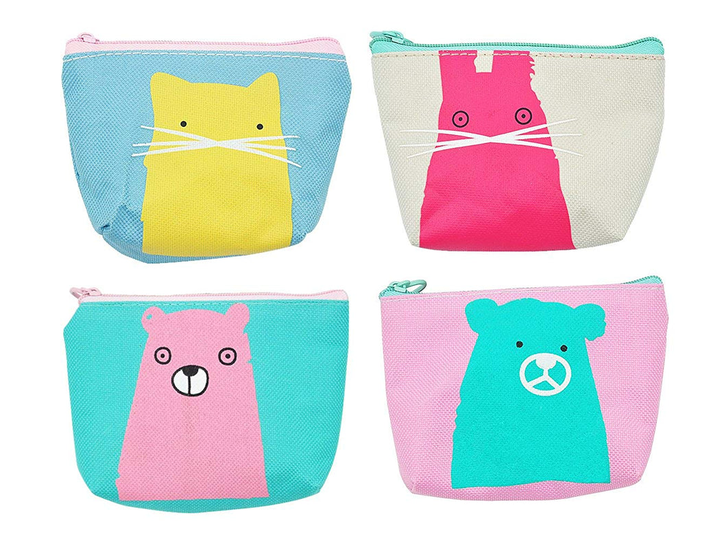 iSuperb Pack of 4 Canvas Coin Purse Change Cash Bag Zipper Small Purse Wallets