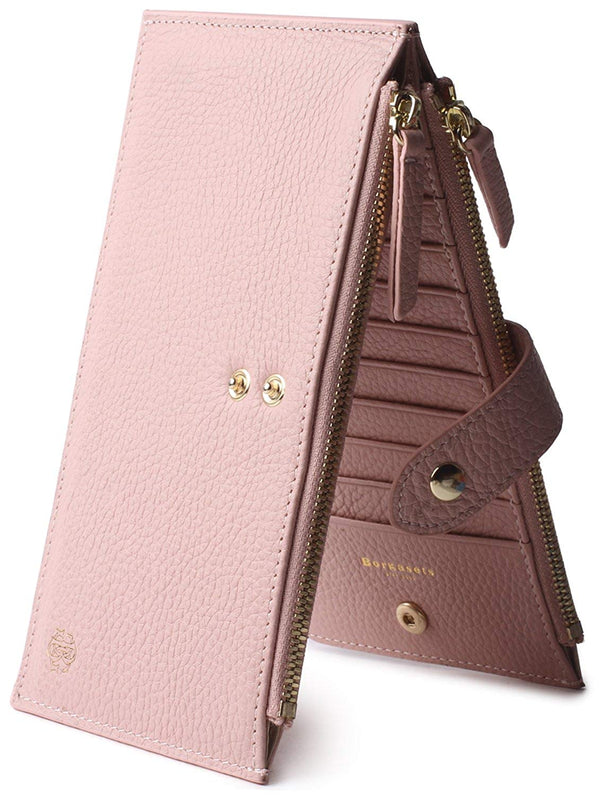 Borgasets Women's Wallet Credit Card Holder Genuine Leather Zipper Purse With RFID Blocking