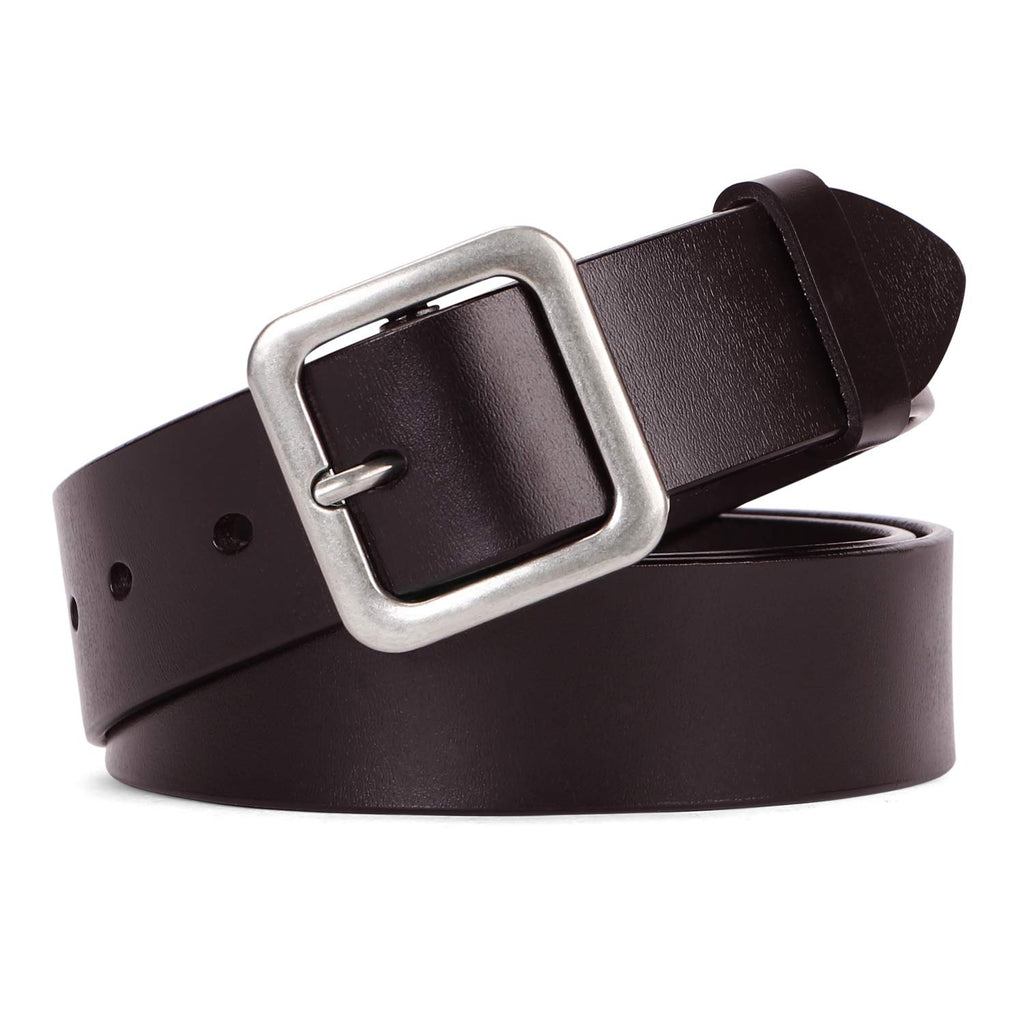 Women Leather Belt Vintage Casual Ladies Belts for Jeans Pants Square Buckle Belt For Women By WERFORU