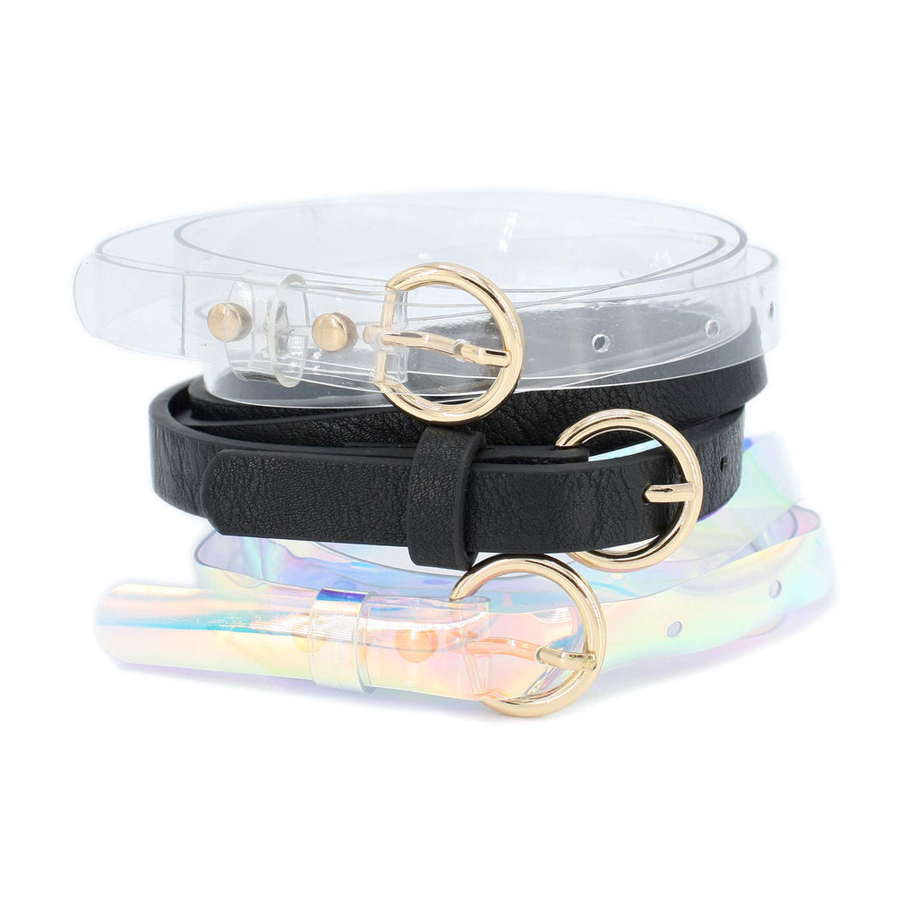 Trio Set Skinny Belt with Round Link Metal Buckle(Pack of 3 pcs)