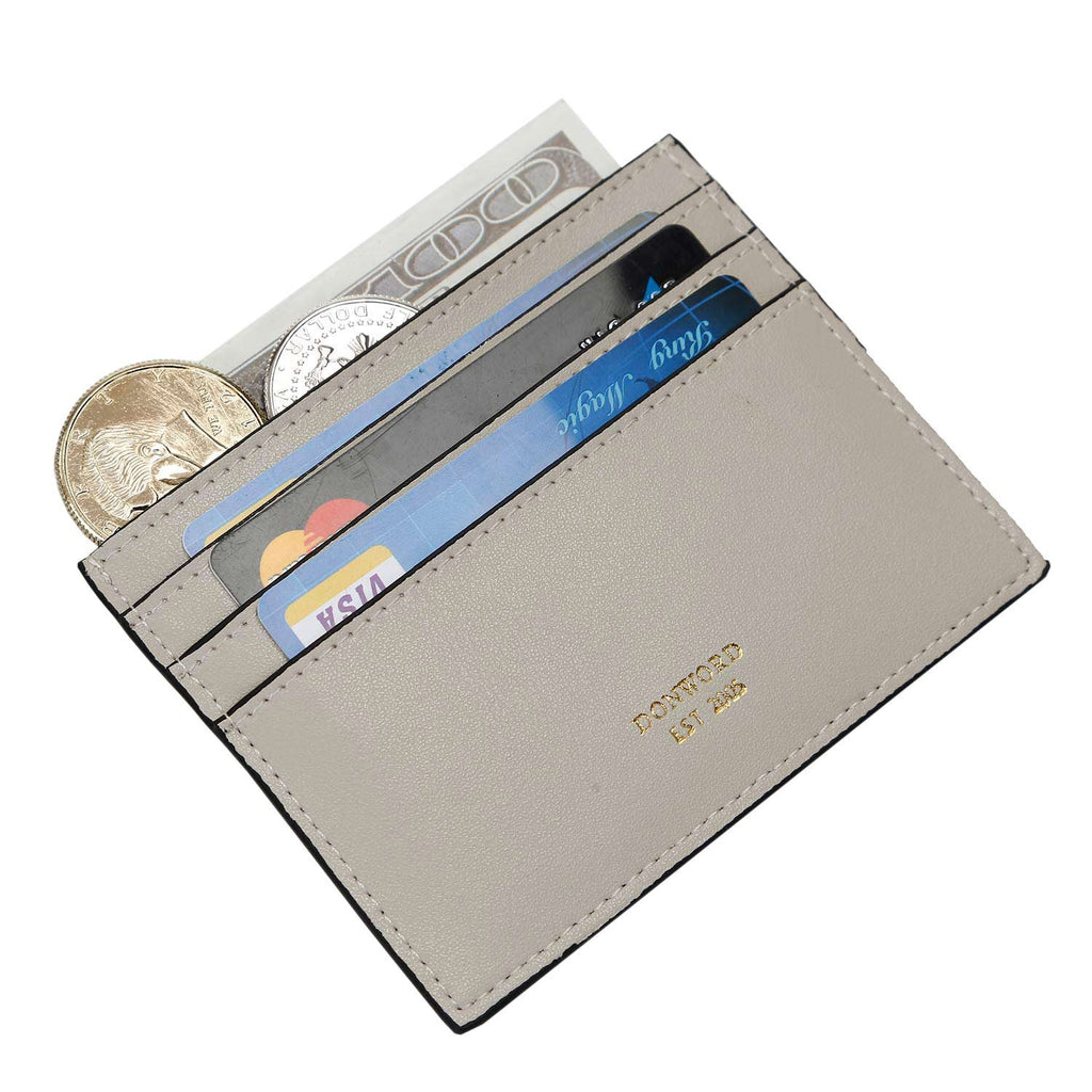 RFID Credit Card Holder for Women Men Slim Leather Card Case Wallet Minimalist Money Clip by Heylife(Grey White)