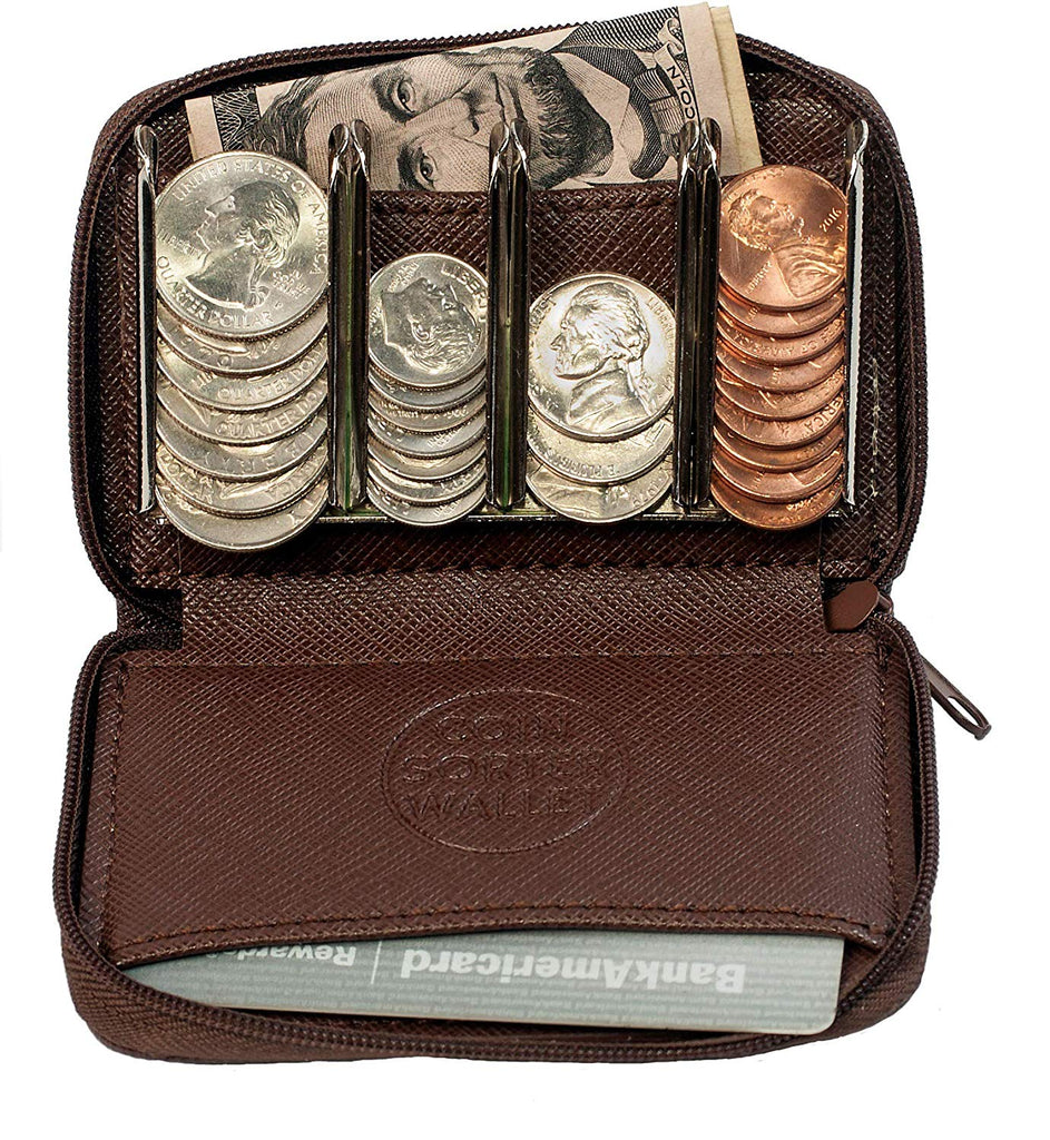 Coin Purse Wallet With Coin Sorter – Quick Change On The Go – Trusty Coin Pouch For Pocket or Purse
