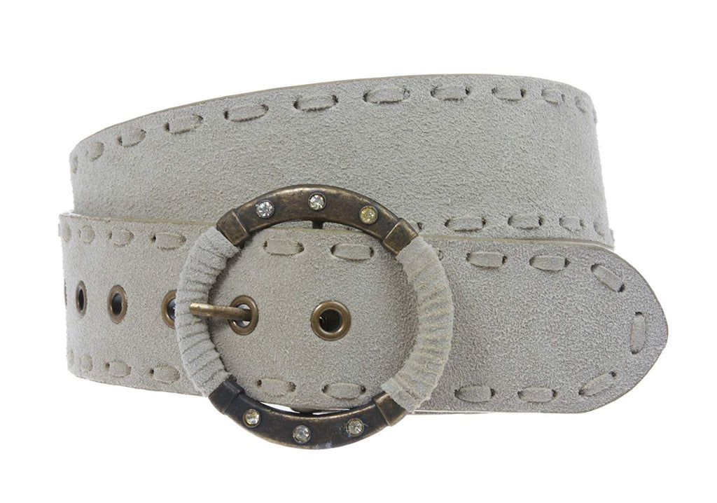 1 7/8 Inch Lace Edged Suede Leather Belt