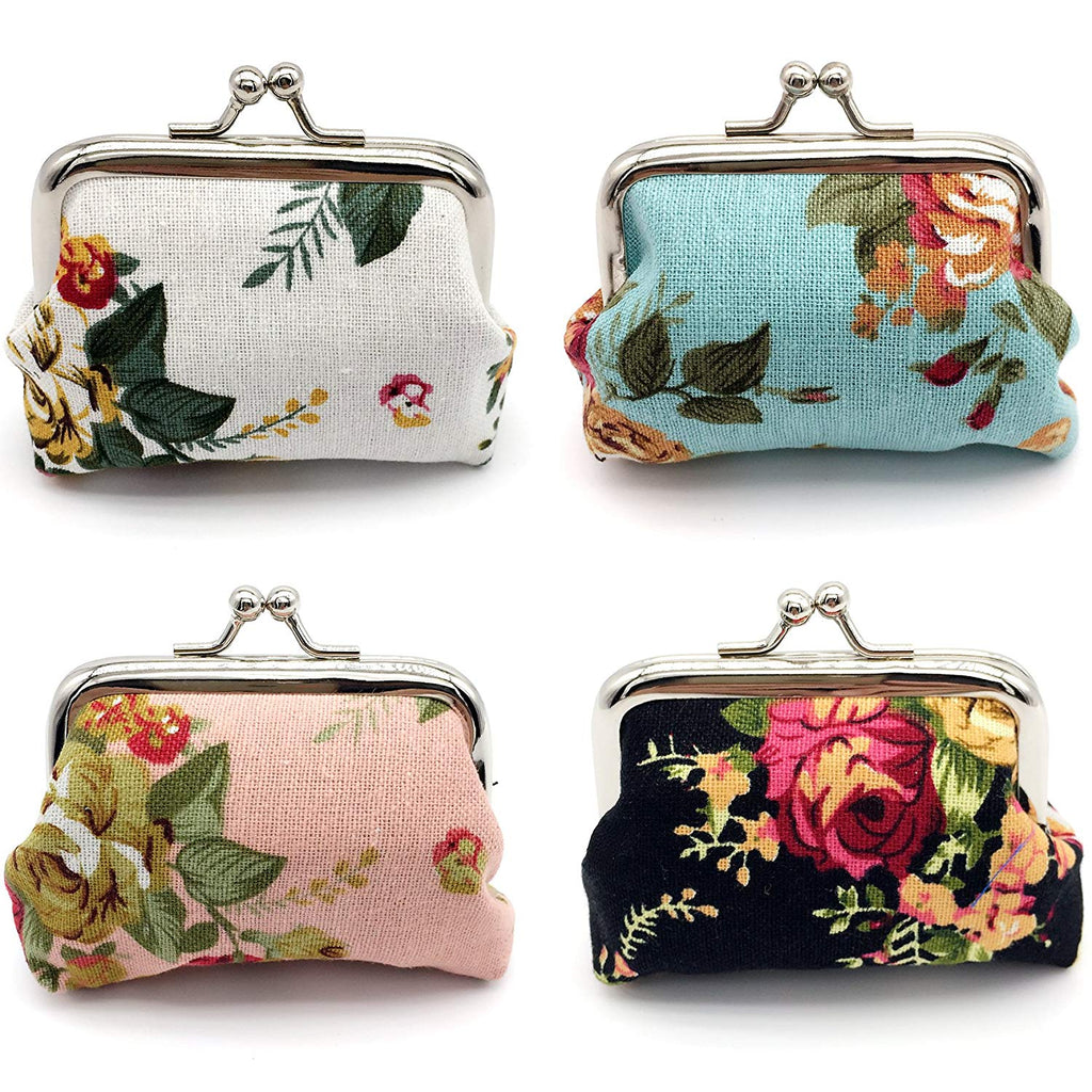 Elesa Miracle 4pc Women Girl Canvas Floral Coin Purse Clutch Pouch Wallet Value Set