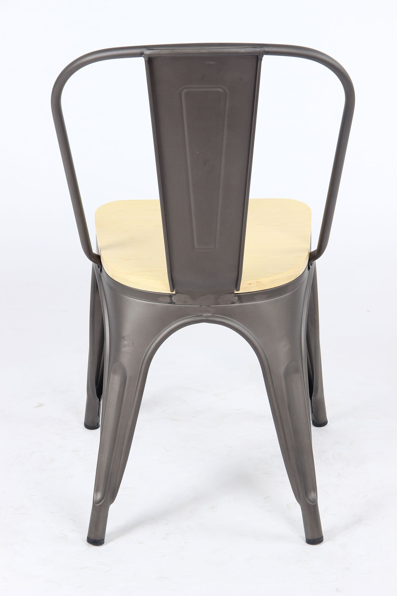 Sedia Legna Metal Chair - Gunmetal/Wood - BAANJA.CO.UK