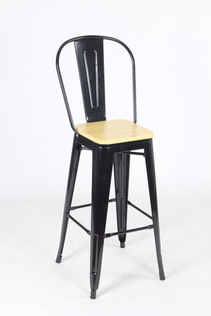 Sgabello Legna Metal Stool - Black/Wood - BAANJA.CO.UK