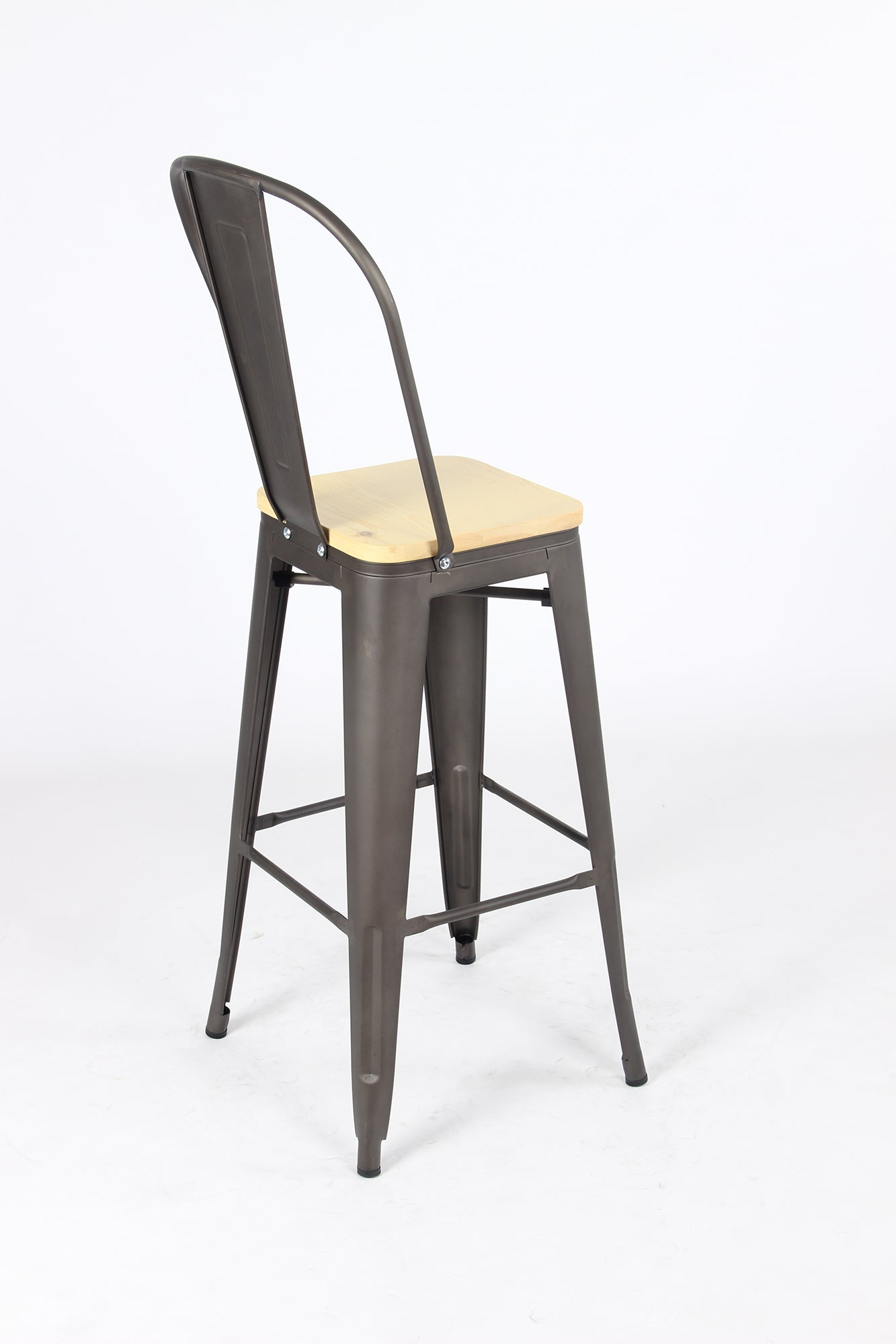 Sgabello Legna Metal Stool - Gunmetal/Wood - BAANJA.CO.UK