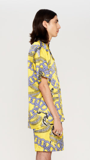 Yellow printed shortsleeves silk shirt