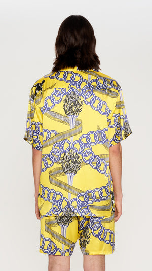"Acid Yellow ""OLYMPIAN"" printed silk hawaian shirt"