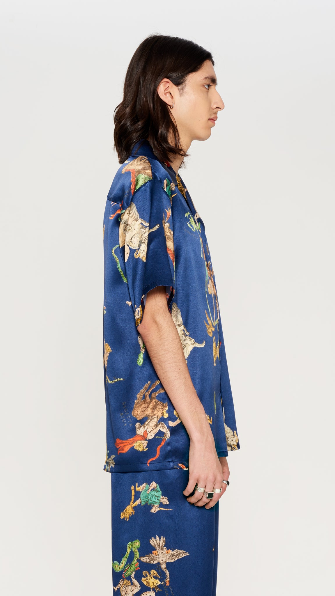 Blue printed  shortsleeves silk shirt