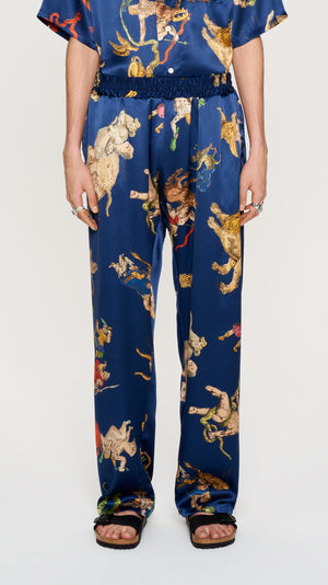 Navy printed silk pants