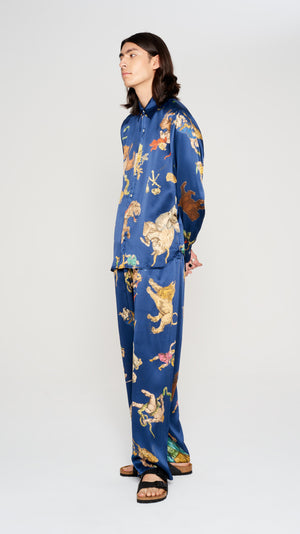 "Navy ""ASTRO"" printed silk pyjama pants (4560925524033)"