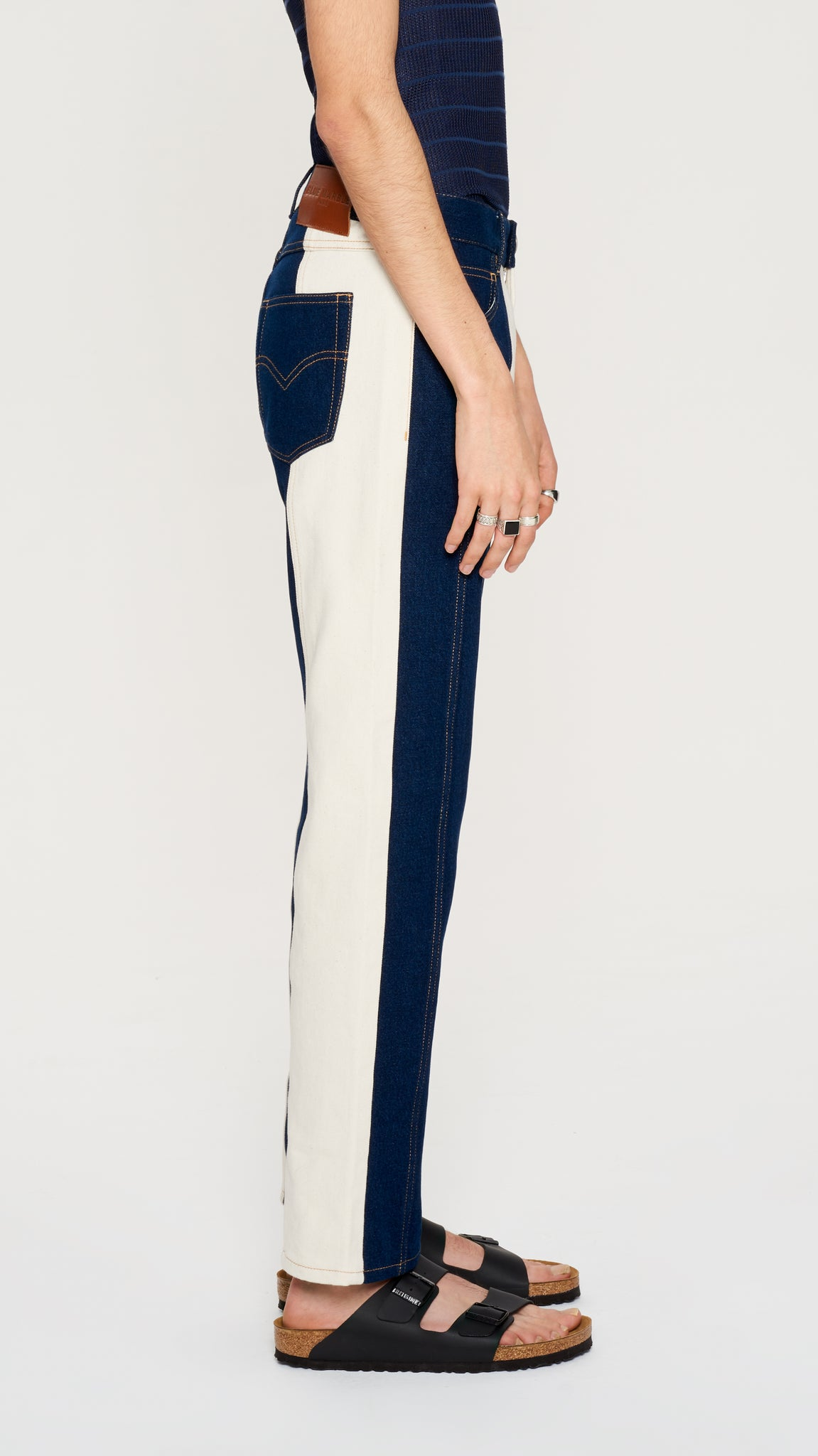 Blue & ivory denim pants (4384193478721)
