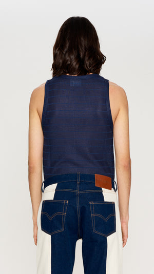 Navy stretch knited mesh tank top (4406722232385)