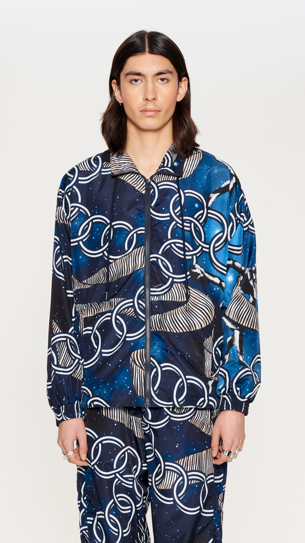 Navy printed nylon trackjacket