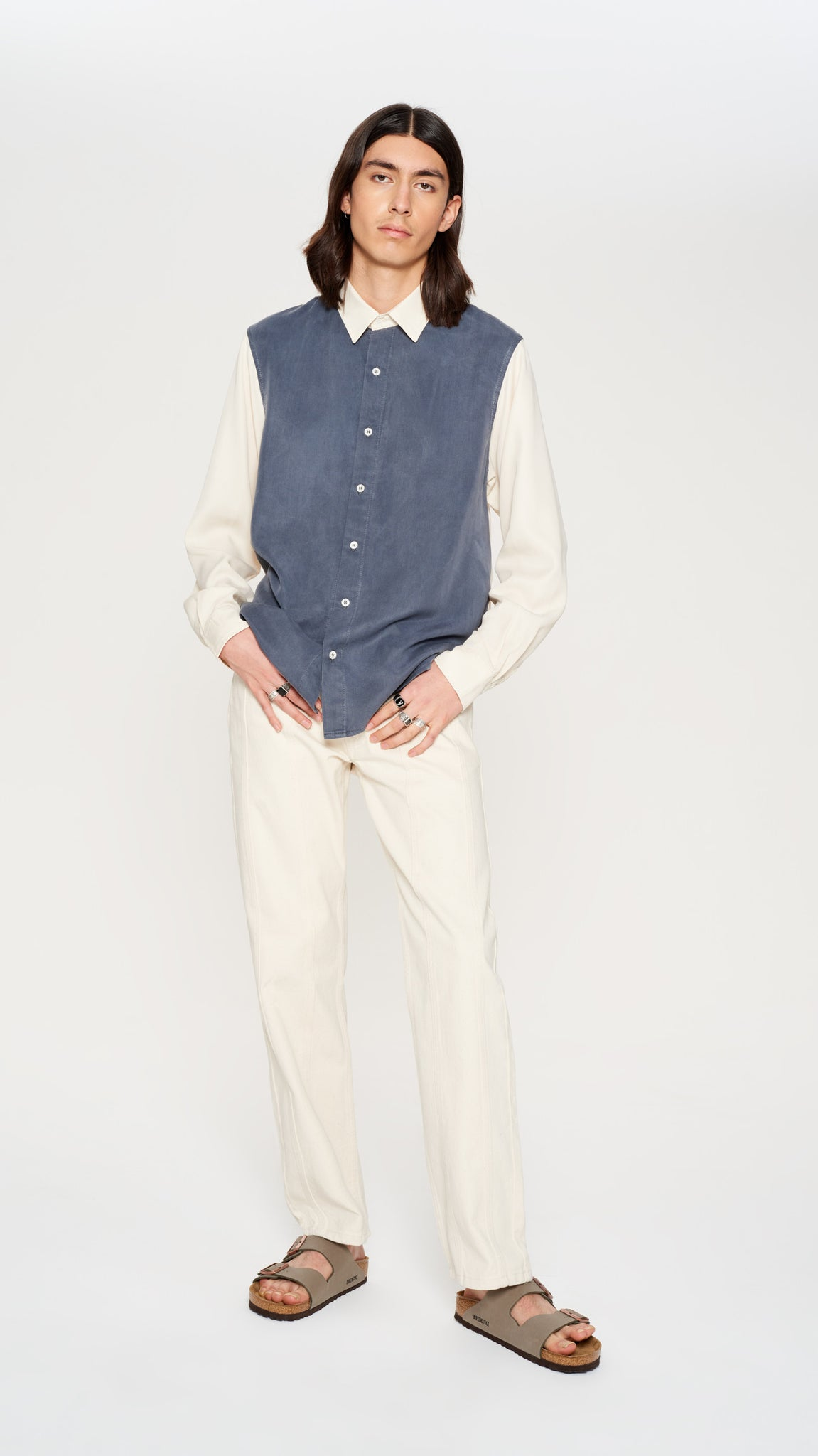 Blue & beige tencel shirt (4370739429441)
