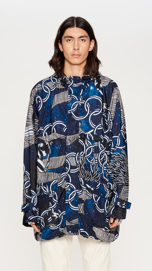 Navy printed nylon parka
