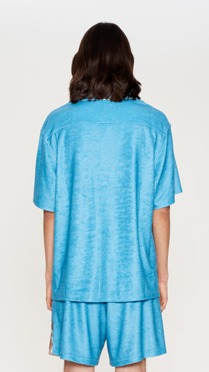 Blue printed shortsleeves fleece shirt (4372600389697)