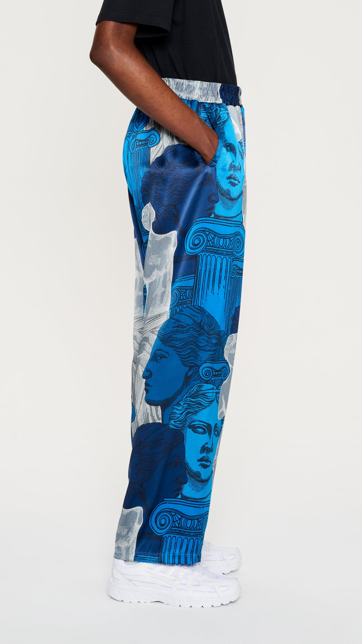 "Blue ""VENUS"" printed silk pyjama pants"