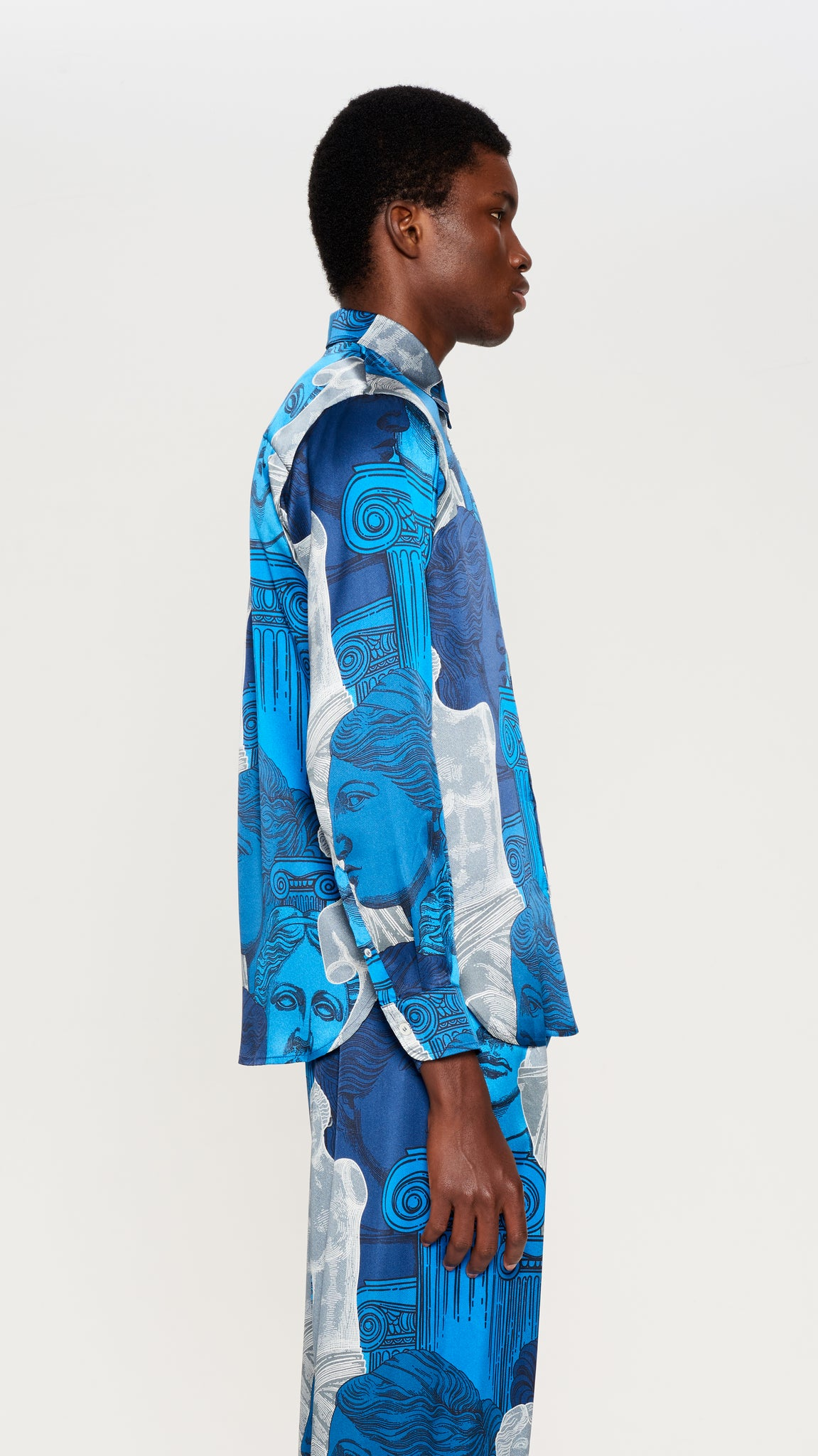 "Blue  ""VENUS"" printed silk shirt"