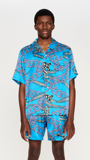Blue printed shortsleeves silk