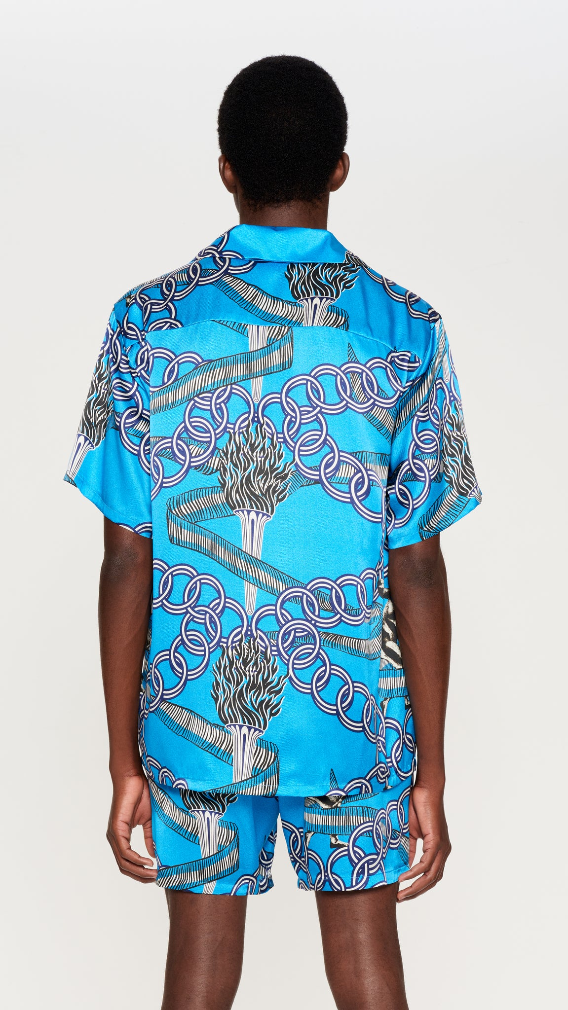 "Blue ""OLYMPIAN"" printed silk hawaian shirt (4575720472641)"