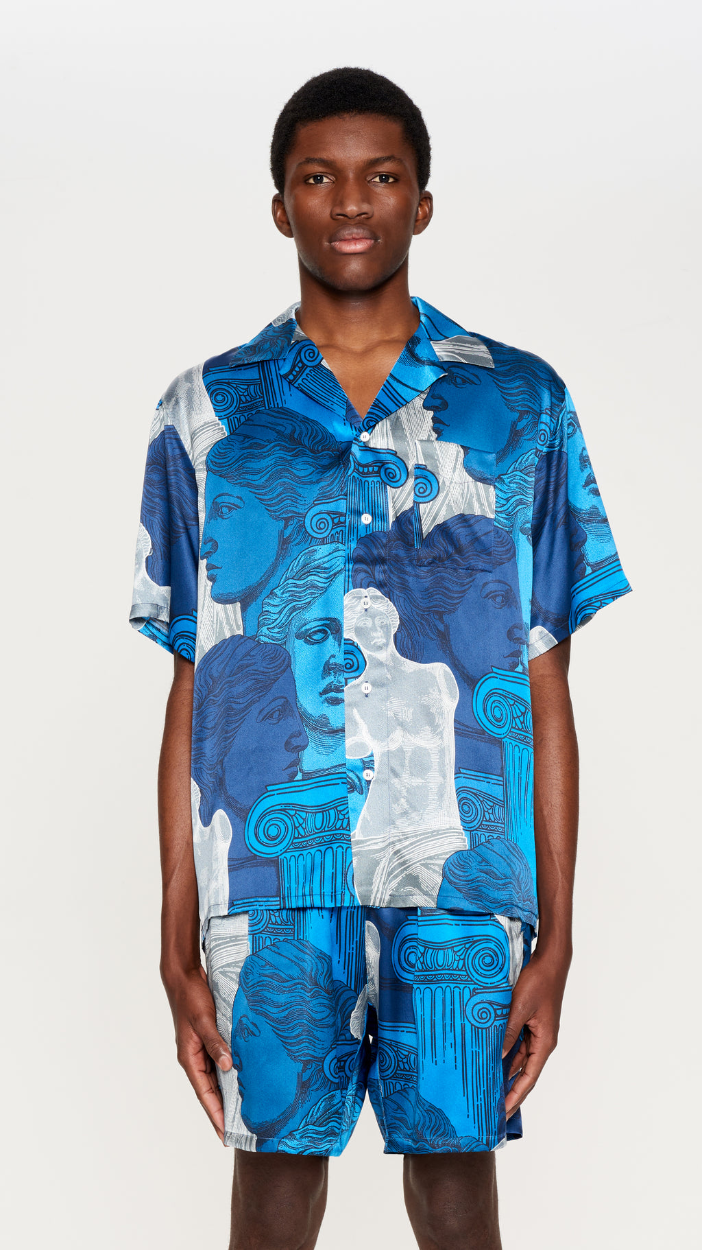 "Blue ""VENUS"" printed silk hawaian shirt (4561649827905)"