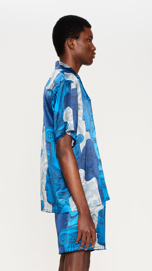 Blue printed silk shirt