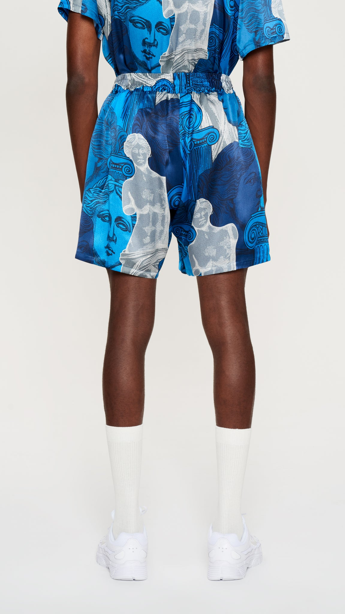 "Blue ""VENUS"" printed silk shorts (4575701827649)"