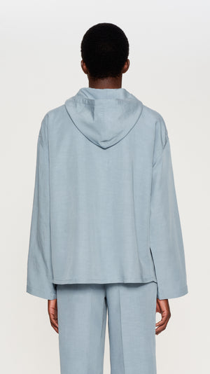 Light blue printed linen hooded top