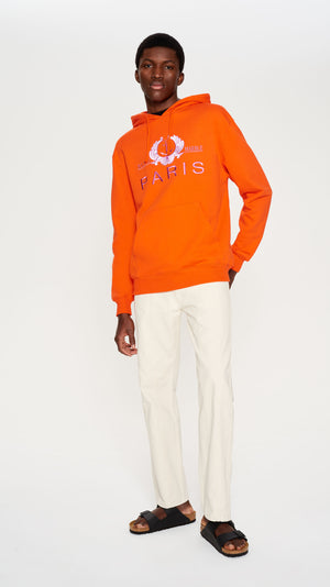 Orange printed embroidered hoodie