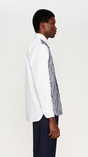 White & blue jaquard and poplin shirt