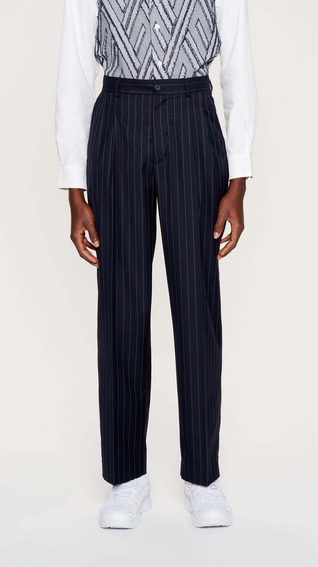 Navy striped wool pants (4404230324289)