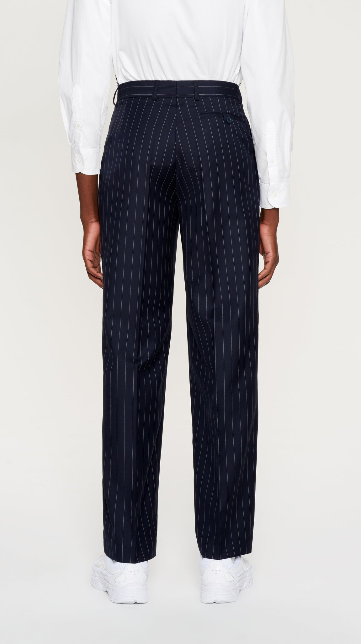 Navy striped wool pants