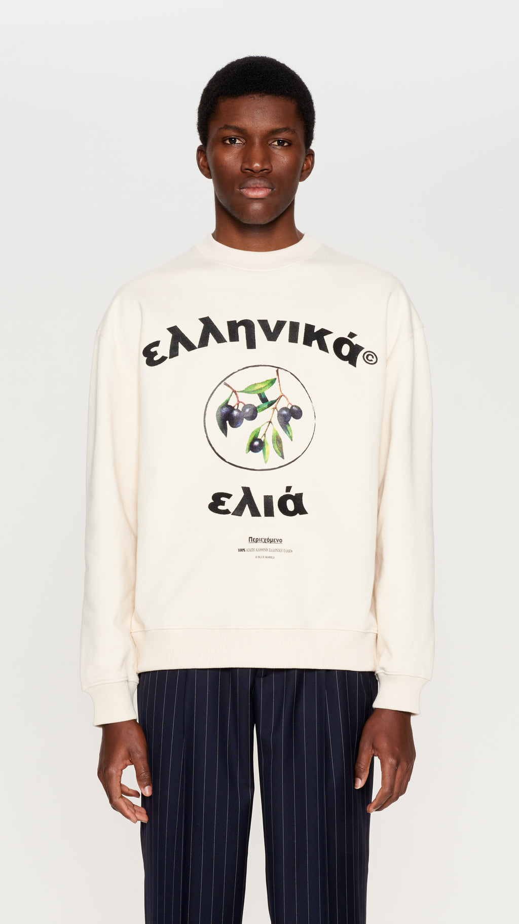 Ivory embroidered & printed crewneck (4396274286657)